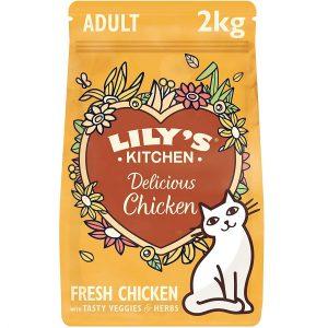 Lily's Kitchen Trockenfutter mit Hühnerfleisch und Kräutern für ausgewachsene Katzen, Vollwertnahrung, 2 kg